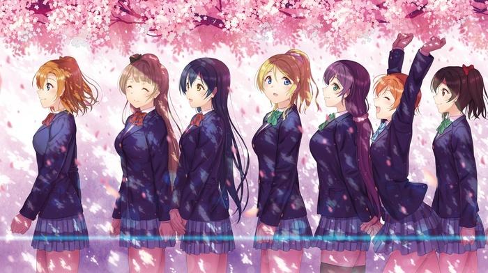 cherry blossom, anime, Ayase Eri, Nishikino Maki, Sonoda Umi, Toujou Nozomi, Yazawa Nico, school uniform, Hoshizora Rin, Kousaka Honoka, Minami Kotori, Koizumi Hanayo, anime girls