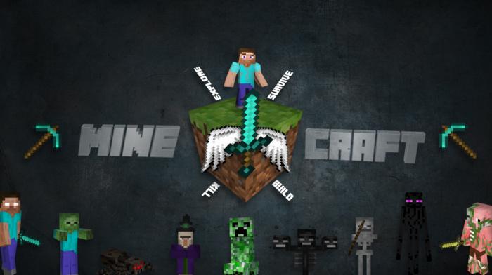 sword, Herobrine, Steve, craft, Minecraft, adventurers, 3D Blocks