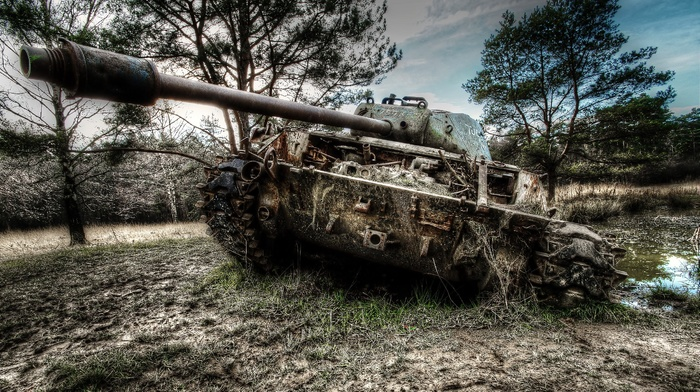 weapon, tank, military, wreck, HDR