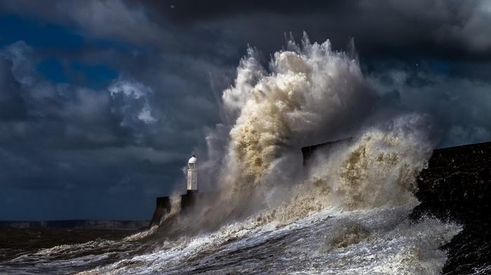 storm, water, nature, sea, lighthouse, coast