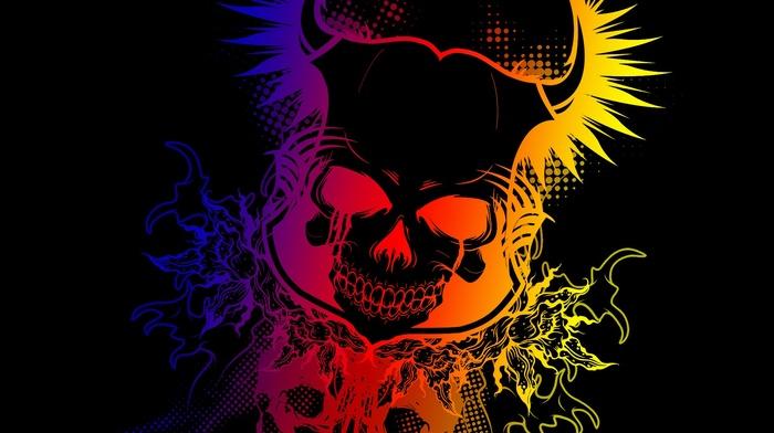 colorful, Devil, gradient, skull, dark, black