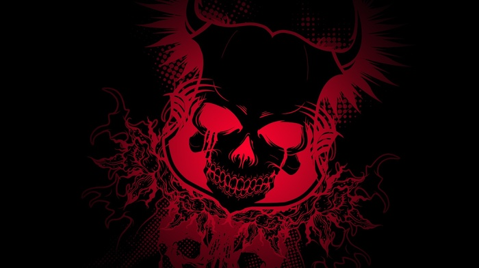 colorful, gradient, skull, dark, Devil, black