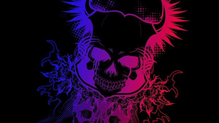 colorful, black, Devil, skull, gradient, dark