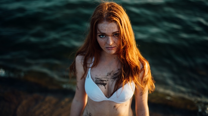girl, looking at viewer, girl outdoors, dirty, model, water, freckles, mud, redhead