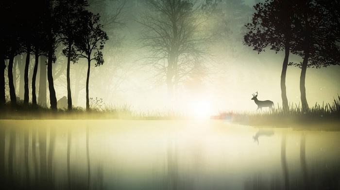 digital art, fantasy art, landscape, reflection, mist, water, animals, deer, nature, silhouette, trees