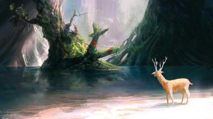 wreck, deer, branch, nature, trees, digital art, animals, water, airplane, landscape, fantasy art