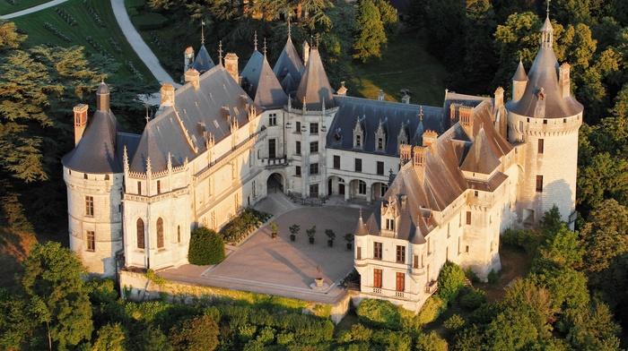 sunlight, France, tower, landscape, architecture, birds eye view, Loire, castle, ancient, forest, nature, trees, grass