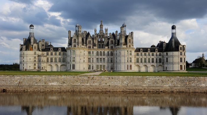 ancient, nature, Loire, trees, clouds, water, architecture, France, landscape, tower, house, grass, reflection, castle