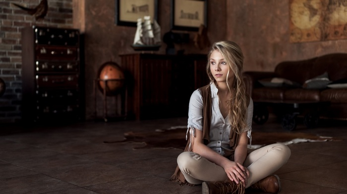 blonde, Alice Tarasenko, girl, sitting, interior, model