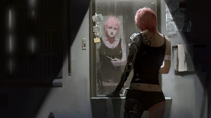science fiction, fantasy art, futuristic, cyberpunk, short hair, artwork