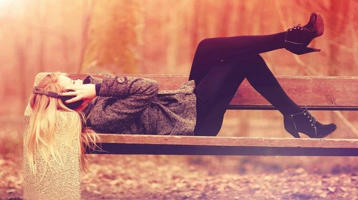 lying down, blonde, girl, bench, headphones, girl outdoors