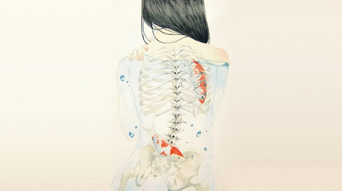 artwork, x, rays, back, skeleton, drawing, rear view, fish