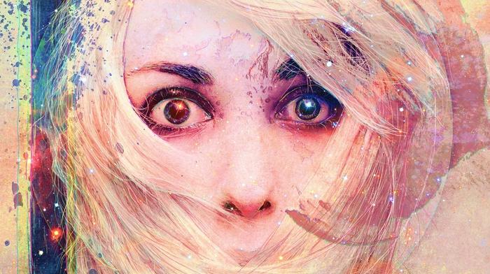 closeup, blonde, eyes, drawing, face, stars, artwork