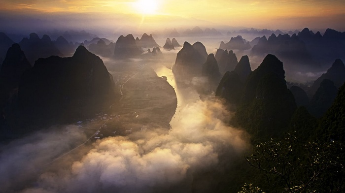 Guilin, road, river, mist, sky, nature, landscape, mountains, town, China, shrubs