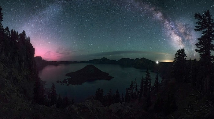 Oregon, dragon, crater lake, landscape, lights, long exposure, Milky Way, starry night, trees, nature
