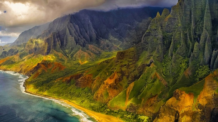 sea, cliff, landscape, nature, clouds, mountains, Hawaii, beach, coast, Kauai, island, aerial view