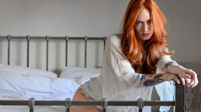 model, redhead, bed, girl