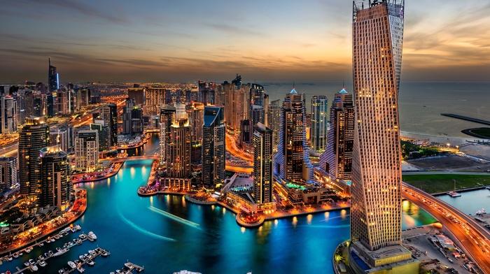 city, water, sky, Dubai