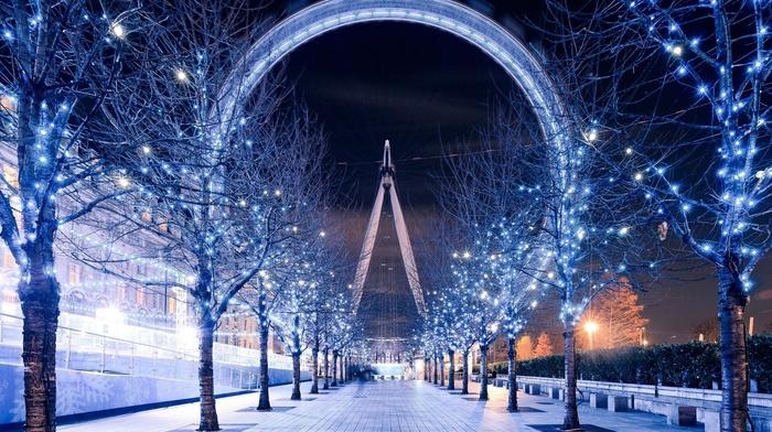 christmas lights, sky, city, trees, path, London, london eye