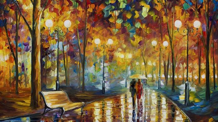 painting, park, artwork, reflection, trees, bench, lights, rain, couple, Leonid Afremov, night