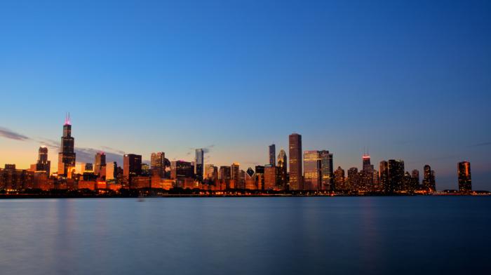 sunset, USA, Illinois, building, lights, city, skyscraper, Chicago