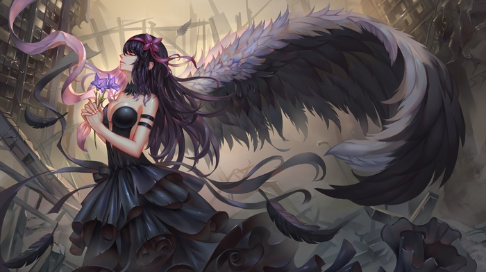 cleavage, Akemi Homura, wings, no bra, dress, anime, Akuma Homura, ruins, black hair, Mahou Shoujo Madoka Magica, anime girls