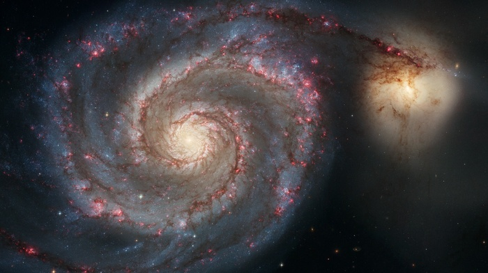 spiral galaxy, sky, Hubble, stars, NASA, space, Messier 51, science, whirlpool
