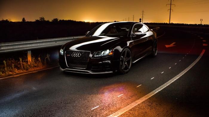 Audi, sunset, car, road