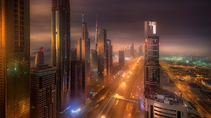 mist, Dubai, city lights, long exposure, city, skyscraper, road