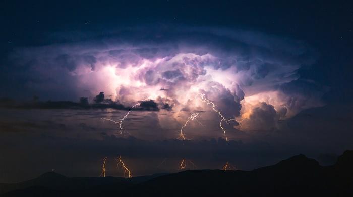 clouds, lightning, landscape, storm, mountains, nature
