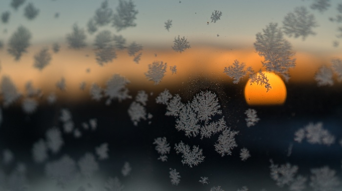 sunset, Sun, winter, nature, clouds, frost, glass, snow flakes, snow, blurred, photography, depth of field