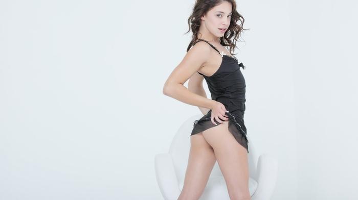 Gigi Rivera, girl, long hair, curly hair, eyes, looking at viewer, ass, small boobs, pornstar, natural boobs, legs, black dress