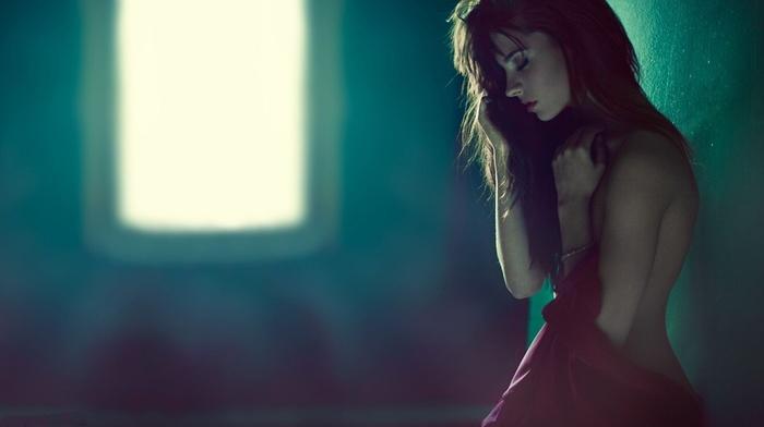 no bra, closed eyes, red dress, undressing, strategic covering, girl