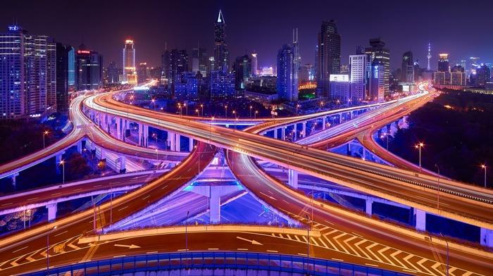 trees, light trails, city, neon, China, road, night sky, Shanghai, long exposure