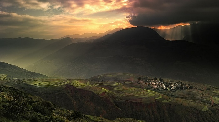sunlight, terraces, sky, village, China, rice, landscape, sun rays, field, nature, clouds, mountains