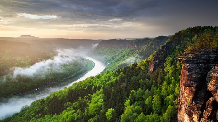 mist, river, Czech Republic, clouds, sunset, spring, forest, cliff, landscape, nature, canyon