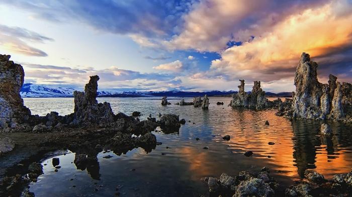 california, erosion, sky, nature, clouds, lake, mountains, sunset, landscape