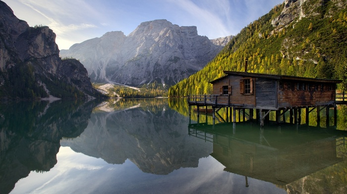 water, mountains, lake, nature, reflection, photography, Italy, cabin, forest, landscape