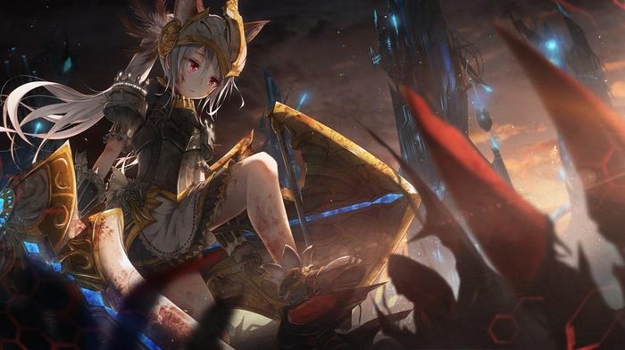 red eyes, anime girls, sword, Tera online, animal ears, blood, dress, armor, anime