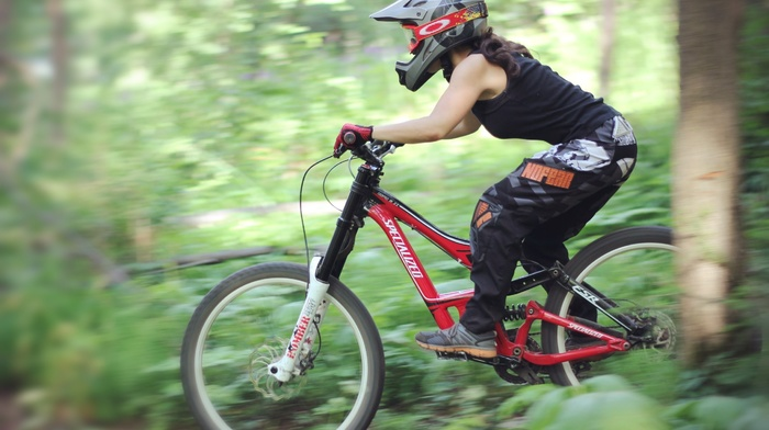 vehicle, Downhill mountain biking, sport, girl with bikes, forest, sports, girl, bicycle