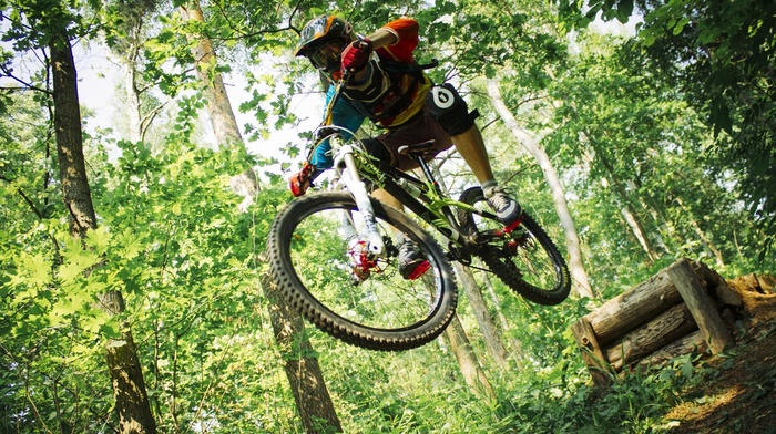 bicycle, mountain bikes, vehicle, jumping, sports, Downhill mountain biking, sport, helmet