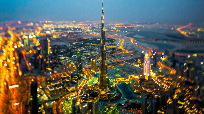 tilt shift, cityscape, lights, motion blur, night, birds eye view, photography, skyscraper, aerial view, United Arab Emirates, city lights, bokeh, Dubai, colorful, city, Burj Khalifa