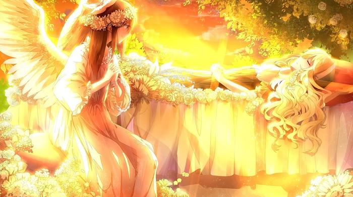 wings, anime, sleeping, sunset, touhou, angel, Kirisame Marisa, Hakurei Reimu, anime girls