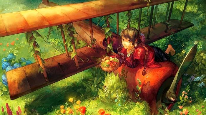 anime girls, original characters, anime, airplane, flowers, plants