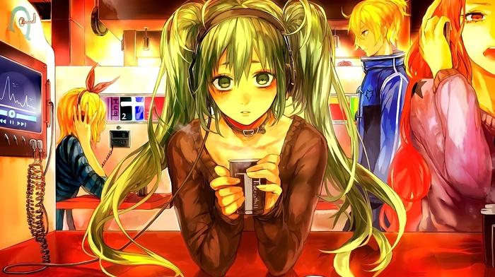 Hatsune Miku, Vocaloid, Kagamine Len, headphones, anime, Kagamine Rin, anime girls