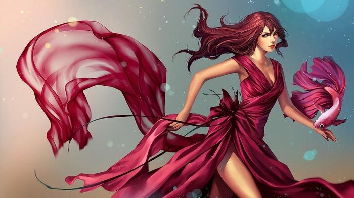 dress, fantasy art, anime, redhead, fish, anime girls