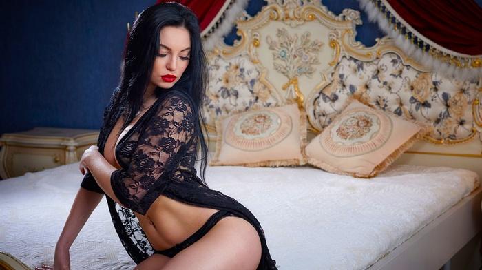 model, lingerie, girl, bed, sitting
