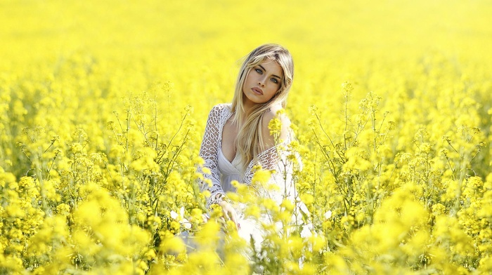blonde, girl, yellow flowers, nature, plants, field, flowers, girl outdoors