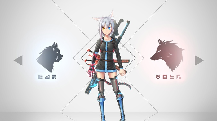 Zettai Ryouiki, anime, weapon, tail, gray hair, animal ears, dress, short hair, original characters, heterochromia, anime girls, sword
