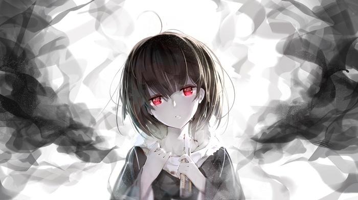 short hair, anime girls, red eyes, anime, original characters, blood